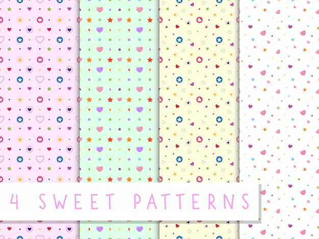 Set of love seamless pattern with colorful heart and star Premium Vector