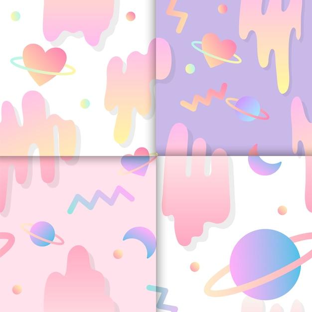 Set of love in space background vectors Free Vector