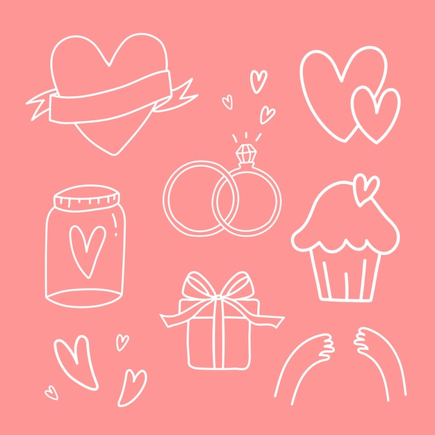 Set of love symbols vector Free Vector