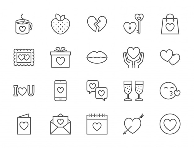 Set of love and valentine's day icons Premium Vector