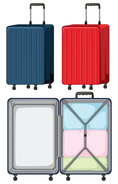 Set of luggage on white background Free Vector