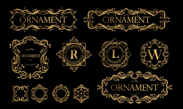 Set of luxurious badges with golden color Premium Vector
