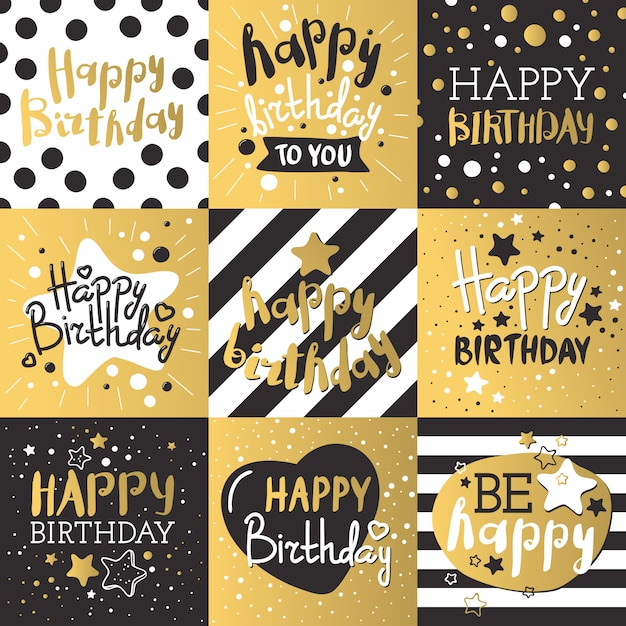 Set of luxury birthday cards decorated with colorful balloons, stars, dots, lines Premium Vector