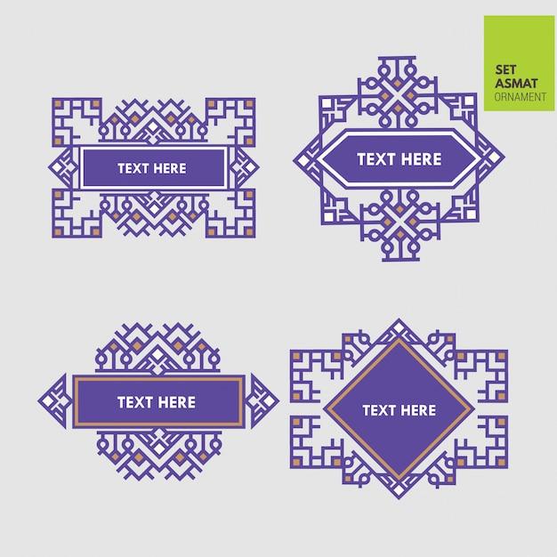 Set luxury border aztec and japanese ornament template Premium Vector