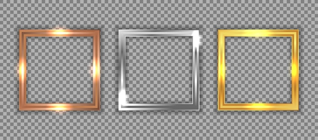 Set of luxury bronze, silver, and gold square frame Premium Vector