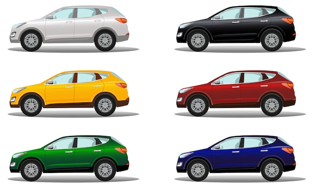 Set of luxury crossover vehicles in a variety of colors. Premium Vector
