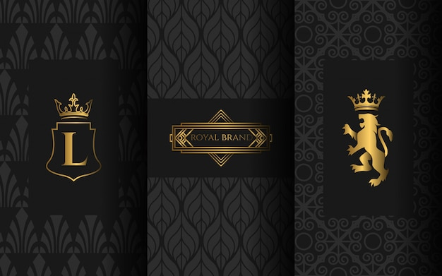 Set of luxury logo Premium Vector