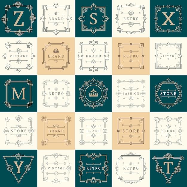 Set luxury logos template flourishes calligraphic elegant ornament lines. business sign, symbol, identity. Premium Vector