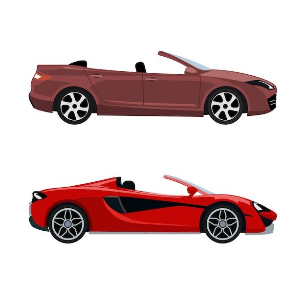 Set of luxury modern convertible cars Premium Vector