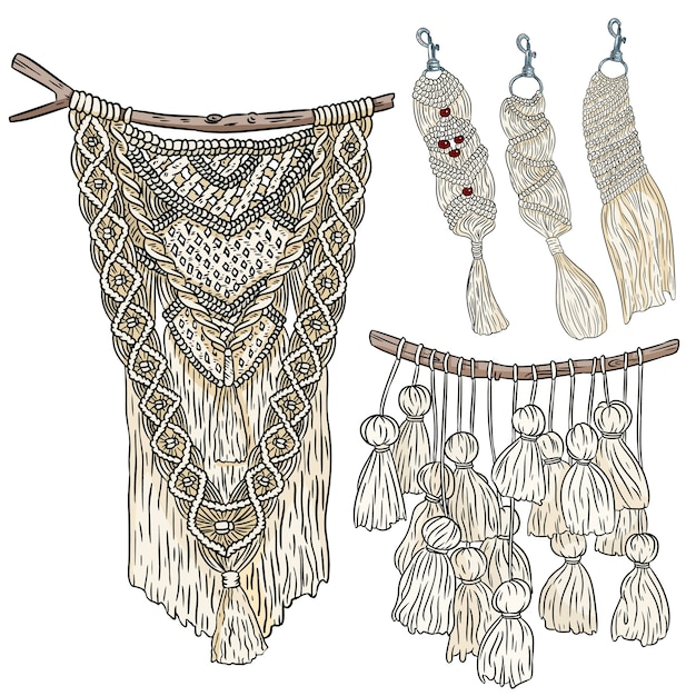 Set of macrame boho style wall hangers and keychains doodle sketches collection of textile knotting design elements simple linear modern indigenous craft Premium Vector