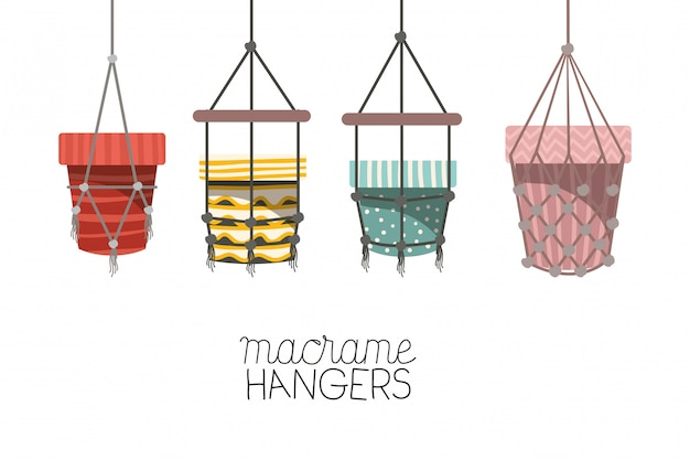Set of macrame pots hangers Premium Vector