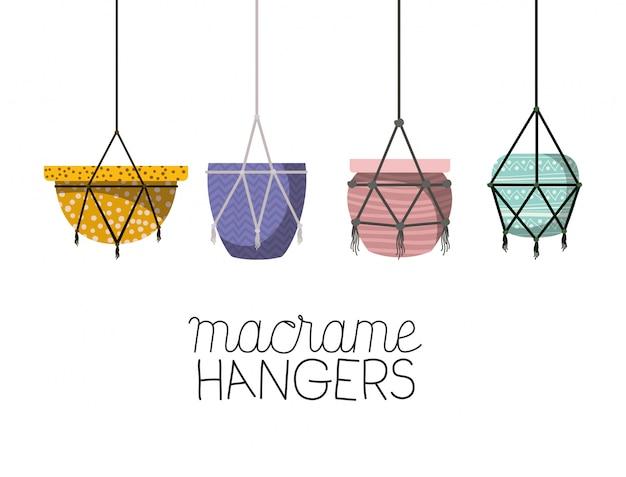 Set of macrame pots hangers Premium Vector