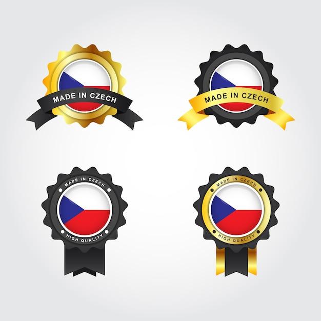 Набор made in czech republic emblem badge label Premium векторы