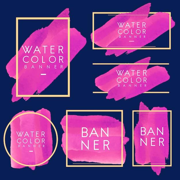 Set of magenta watercolor banner design vector Free Vector