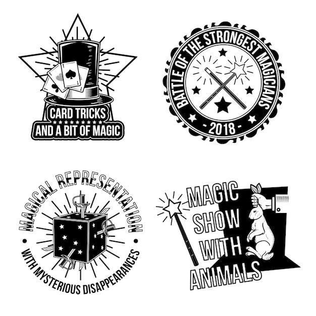 Set di emblemi magici Vettore gratuito