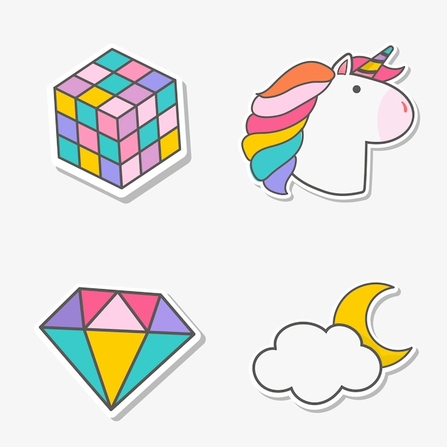 Set of magical unicorn stickers vector Free Vector