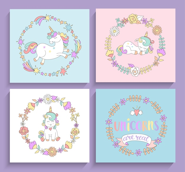 Set of magical unicorns cards with circle frames. Premium Vector