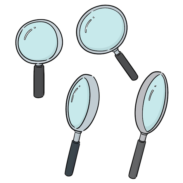Set of magnifying glass Premium Vector
