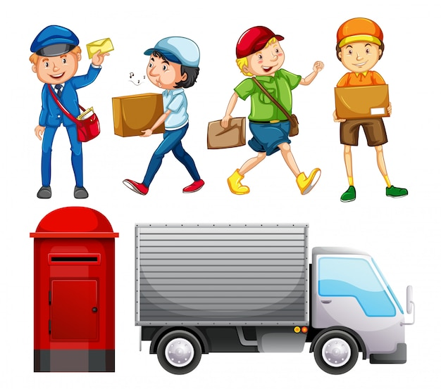 Set of mail delivery Premium Vector