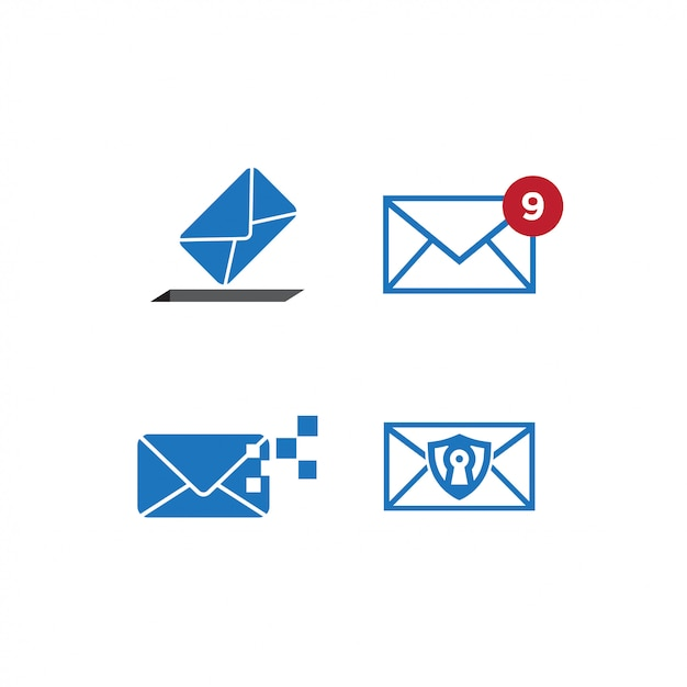 Set of mail graphic design template Premium Vector