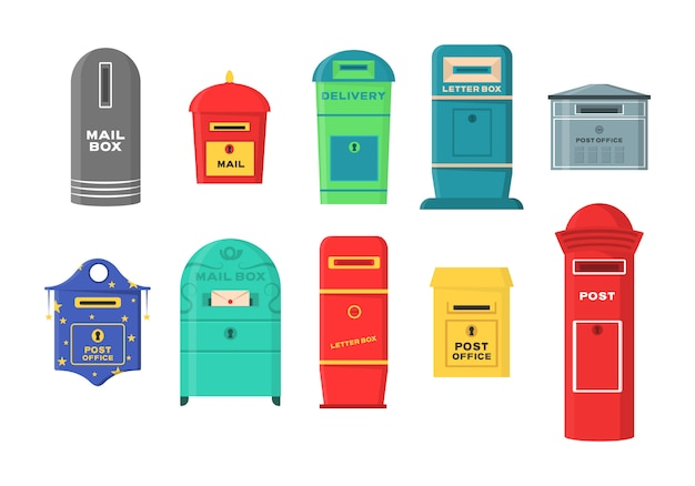 Set of mailboxes, letter boxes, pedestals for sending and receiving letters, correspondence, newspapers, magazines, bills. set of mailbox for delivery envelopes, parcel in flat style. Premium Vector