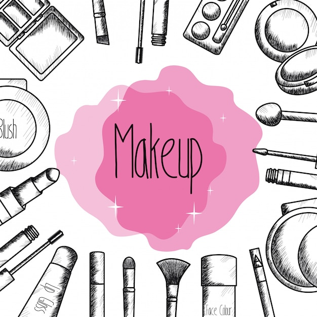 Set Of Make Up Accessories Drawing Free Vector