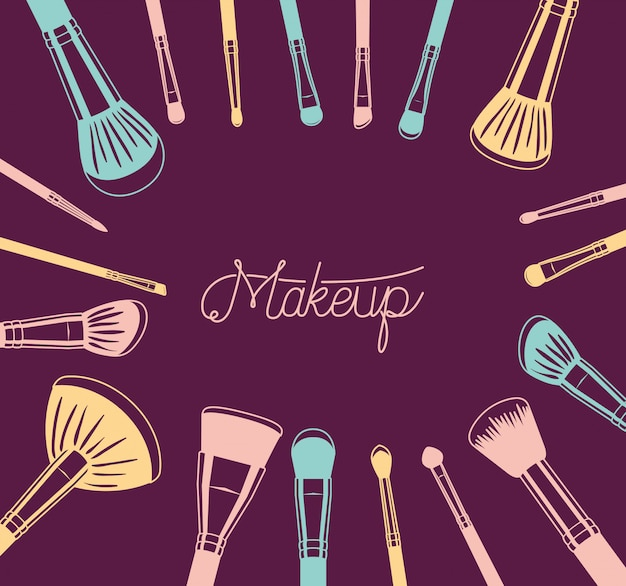 Set of make up brushes accessories around Free Vector
