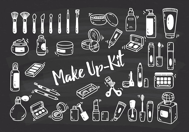 Set of make up kit doodle Premium Vector
