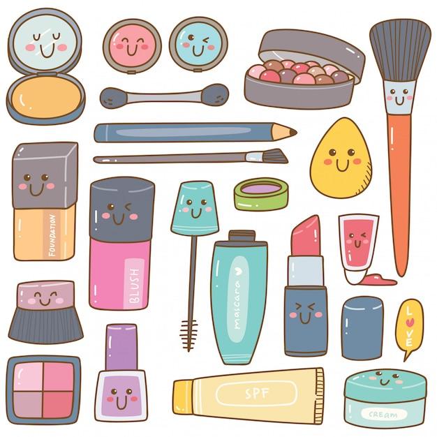 Set of make up kit kawaii doodles Premium Vector