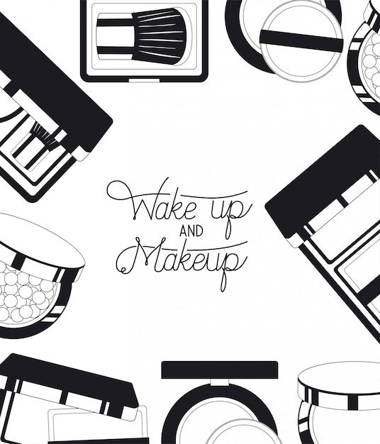 Set of make up products frame around Free Vector