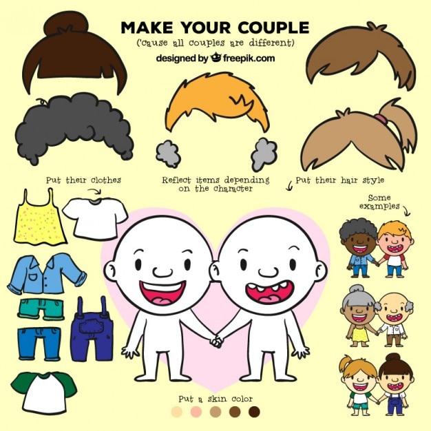Set make your couple Free Vector