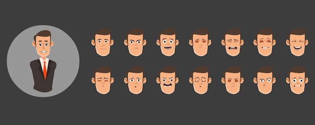 Set of male avatars Premium Vector