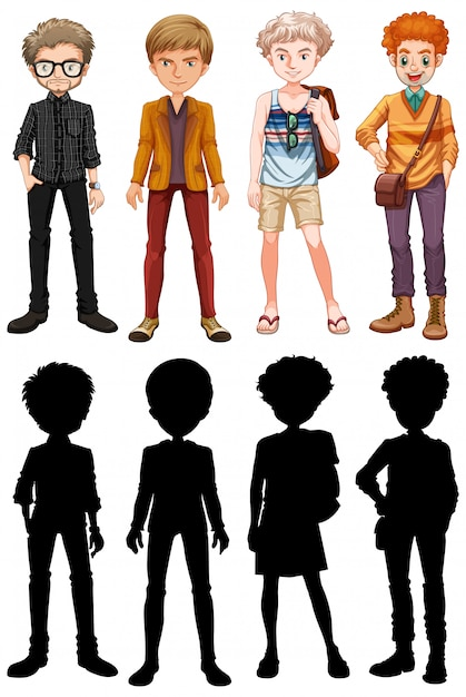 Set of male cartoon character Free Vector
