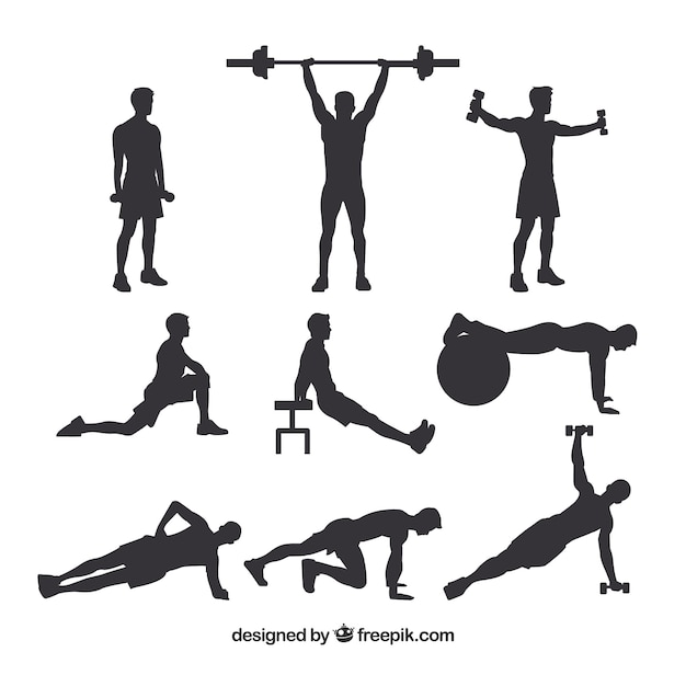 Set of male crossfit silhouettes Free Vector