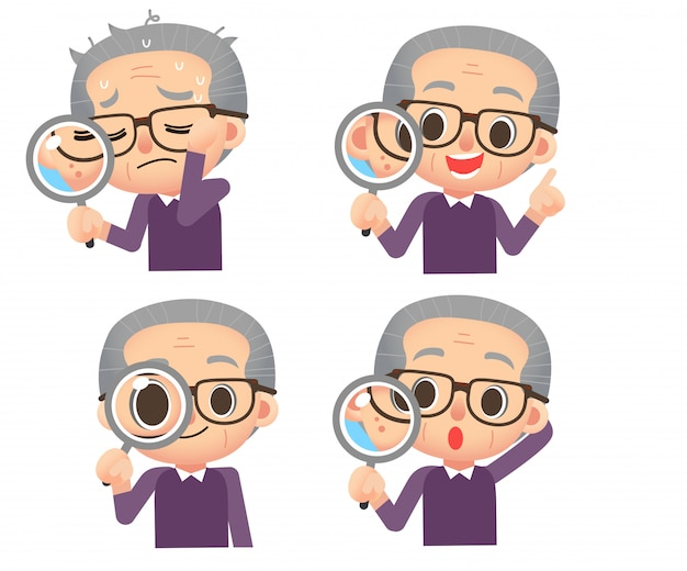 Set of male elderly character holding magnify glass Premium Vector