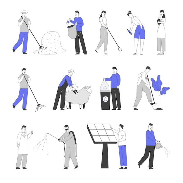 Set of male and female characters collecting garbage on street. farmer raking hay, trimming sheep and planting trees. Premium Vector