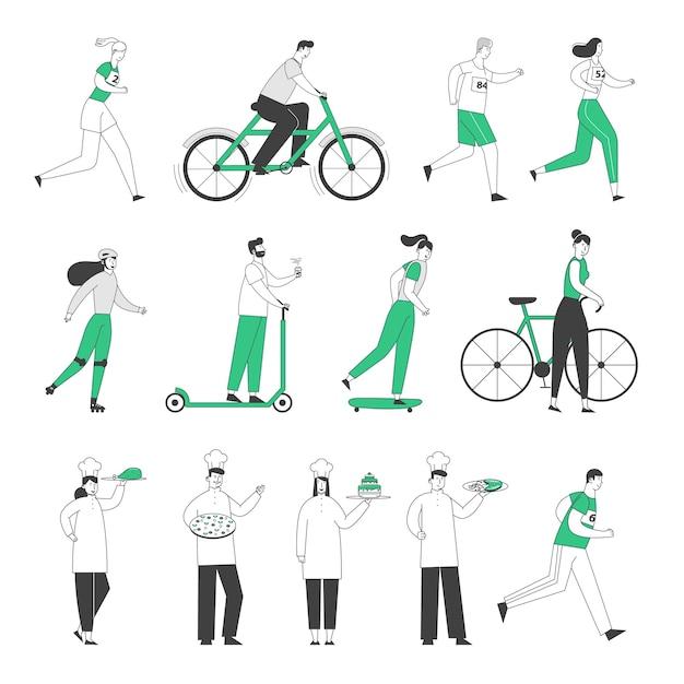 남성 여성 캐릭터 건강한 라이프 스타일 승마 자전거, 스쿠터 및 스케이트 보드를 설정하고 마라톤을 실행하십시오. 프리미엄 벡터