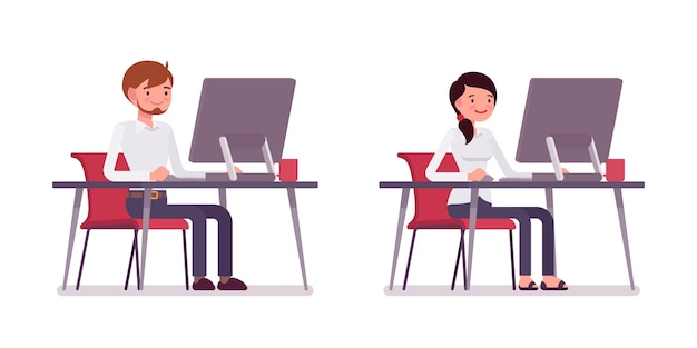 Set of male and female clerk sitting at the computer Premium Vector