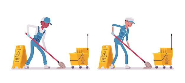 Set of male and female janitor mopping Premium Vector