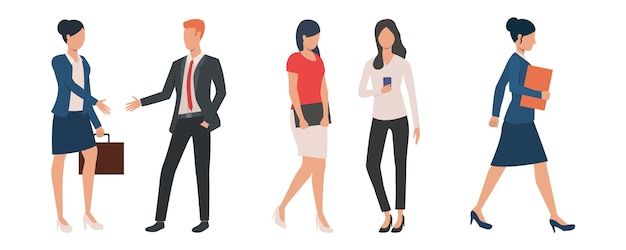 Set of male and female people working on project Free Vector