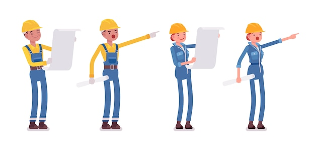 Set of male and female worker planning Premium Vector