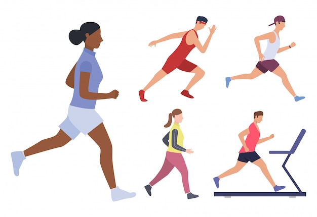 Set of male and females runners Free Vector