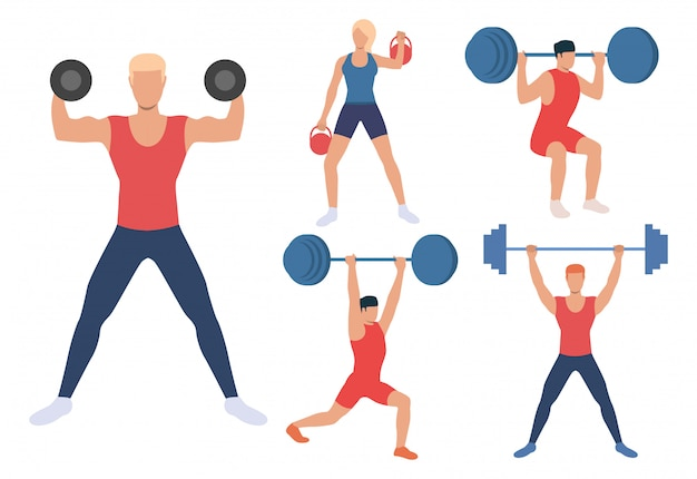 Set of male and females weight lifters | Free Vector