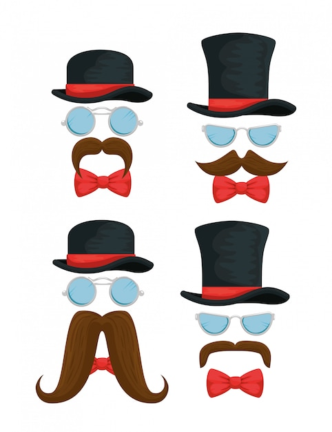 Set of male hat with glasses, bowties and mustaches Free Vector