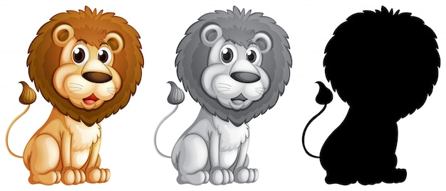 Set of male lion character Free Vector