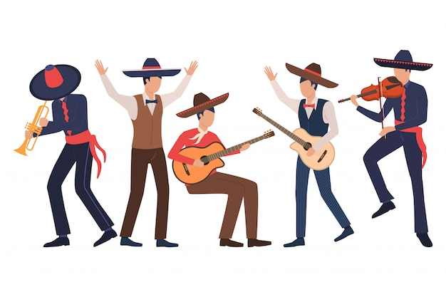 Set of male mexican musicians Free Vector