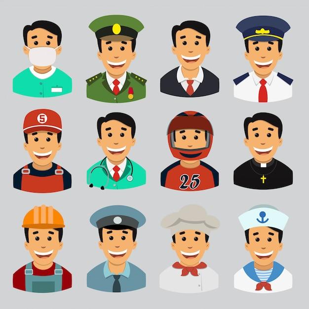 A set of male professions, avatari. Premium Vector