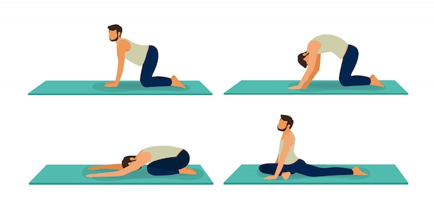 Set Of Male Yoga Illustration Of Cartoon Man In Various Poses Of Yoga A Guy Yoga Poses Training Premium Vector