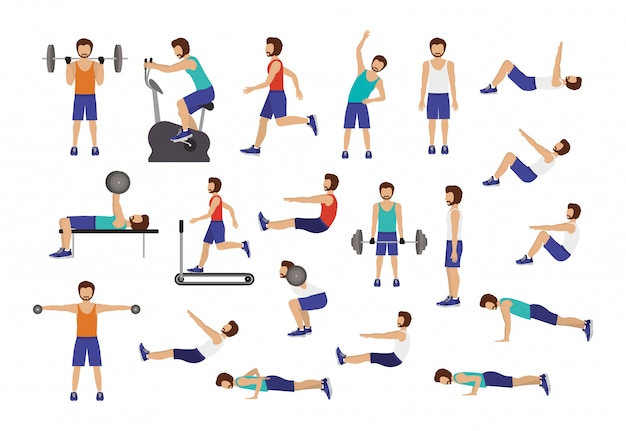 Set of man doing excercise Free Vector