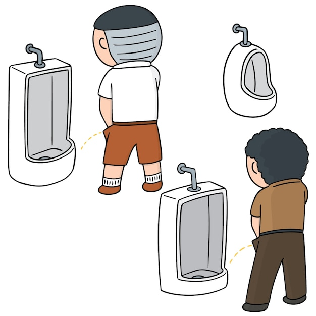 Set of man peeing Premium Vector
